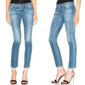 Rag & Bone Tomboy Distressed Light Wash Crop Jeans